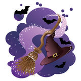Witch broom and hat Royalty Free Stock Photo