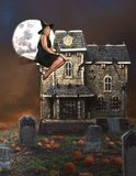 Witch on broom and haunted house stock image