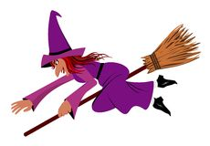 Witch on a broom. Illustration stock illustration