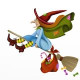 Witch on broom Stock Image