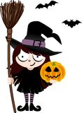 Witch with Broom and Pumpkin Stock Image