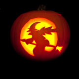 Witch on Broom Pumpkin Carving Stock Image