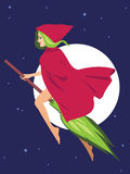 Witch on a broom Royalty Free Stock Photos