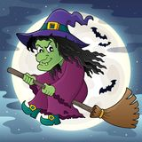 Witch on broom theme image 2 Royalty Free Stock Photo
