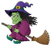 Witch on broom theme image 1 Royalty Free Stock Photography