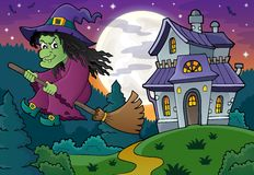 Witch on broom theme image 4 Royalty Free Stock Image