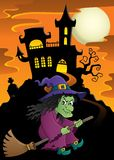 Witch on broom theme image 5 Royalty Free Stock Images