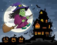 Witch on broom theme image 3 Royalty Free Stock Image