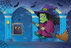 Witch on broom theme image 6 Stock Photo