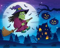 Witch on broom theme image 7 Stock Photography