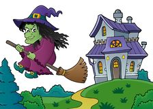 Witch on broom theme image 8 Stock Photography