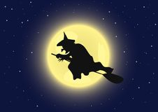Witch on broomstick. A witch flying on its broomstick. Vector illustration stock illustration