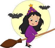 Witch on broomstick Royalty Free Stock Photo