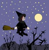 Witch on Broomstick Stock Photo