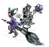 Witch on broomstick. Illustration of witch and cat on broomstick with owl and tree house, isolated over white background stock illustration