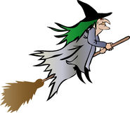Witch on broomstick Stock Photos