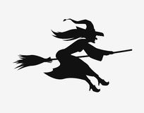 Witch on a broomstick. Black silhouette. Halloween vector symbol Stock Photography