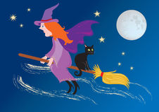 Witch on broomstick. A cartoon witch flying through the night sky on her broomstick with a black cat. there is a full moon and stars are twinkling royalty free illustration