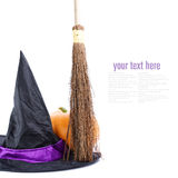 Witch broomstick and hat. Isolated on white background (with sample text stock photos