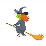 Witch on a broomstick Stock Image
