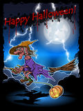 Witch on a broomstick Stock Images