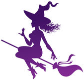 Witch on a broomstick. Silhouette of the witch on a broomstick stock illustration