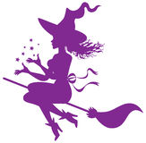 Witch on a broomstick Royalty Free Stock Images
