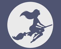 Witch on a broomstick Royalty Free Stock Photo