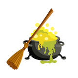 Witch bucket of boiling green liquid magic and broom. Potion for Halloween. Royalty Free Stock Photos