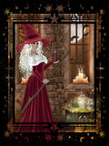 Witch with Candle Halloween Stock Photo
