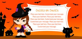 Witch_card. Cute Halloween greeting card. Customize your message, place your text here. Vector illustration Stock Photos