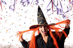 Witch at Carnival. Wrong party time or just a costume Royalty Free Stock Photo