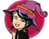 Witch Cartoon Character. Cute witch character drawing bring the magic stick Royalty Free Stock Photography