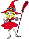 Witch. Cartoon of cheerful nice witch with broom Stock Image