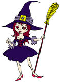 Witch. Cartoon of cheerful nice witch with broom Royalty Free Stock Photography