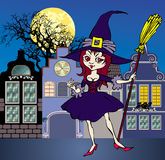 Witch. Cartoon of cheerful nice witch with broom Stock Photos