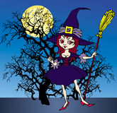 Witch. Cartoon of cheerful nice witch with broom Stock Photo