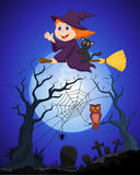 The witch cartoon flying on a broom on a full moon over the cemetery Royalty Free Stock Image
