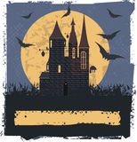 Witch Castle. Happy Halloween card  with Witch Castle for your designs Royalty Free Stock Photos