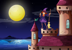 A witch at the castle with a purple dress Royalty Free Stock Image