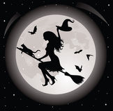Witch and a cat. Silhouette of a witch and a cat flying on a broom. Full moon and bats on the background