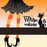 Witch with cat. This is an illustration of a witch with her cat Royalty Free Stock Images