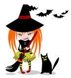 Witch and cat Stock Images
