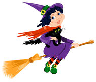Witch and cat. Isolated on white. Cartoon illustration Royalty Free Stock Photography