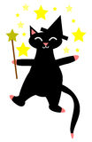 Witch Cat. Black cat witch casts a spell with stars Stock Image
