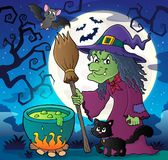 Witch with cat and broom theme image 2 Stock Photos