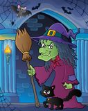 Witch with cat and broom theme image 5 Stock Photos