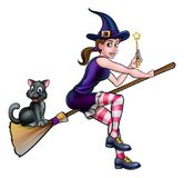Witch and Cat on Broomstick with Magic Wand Stock Image