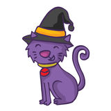 Witch cat cartoon funny collection stock Royalty Free Stock Photos