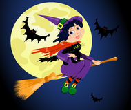 Witch and cat fly. The witch with a cat flies on the sky. Halloween  illustration Stock Photo